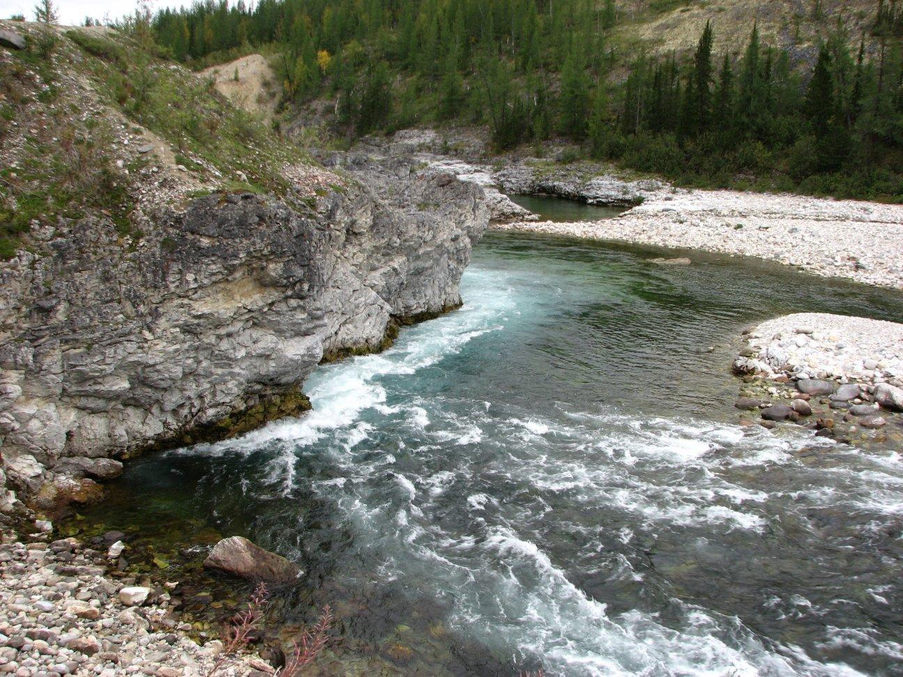 Горная река с порогами