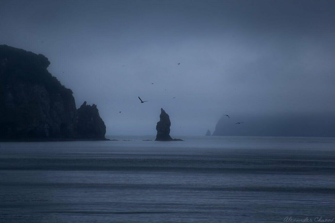 Одинокие скалы в море в тумане
