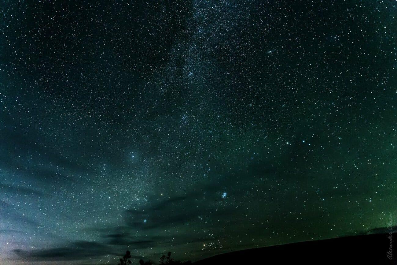 Ночное звездное небо над лесной долиной