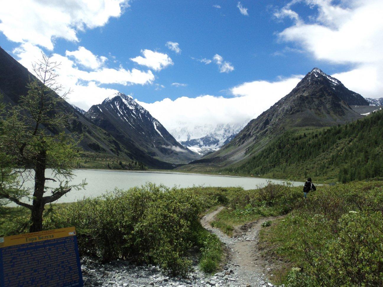 Река и горы по краям