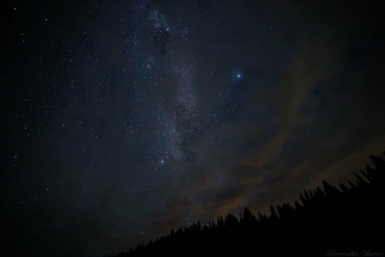Млечный путь над ночным лесом