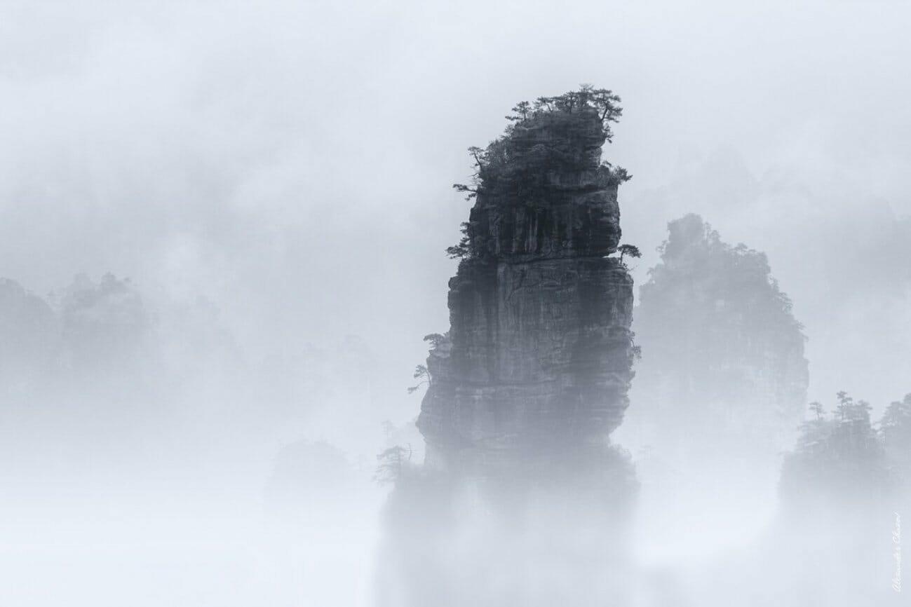 Одинокая скала в тумане покрытая джунглями
