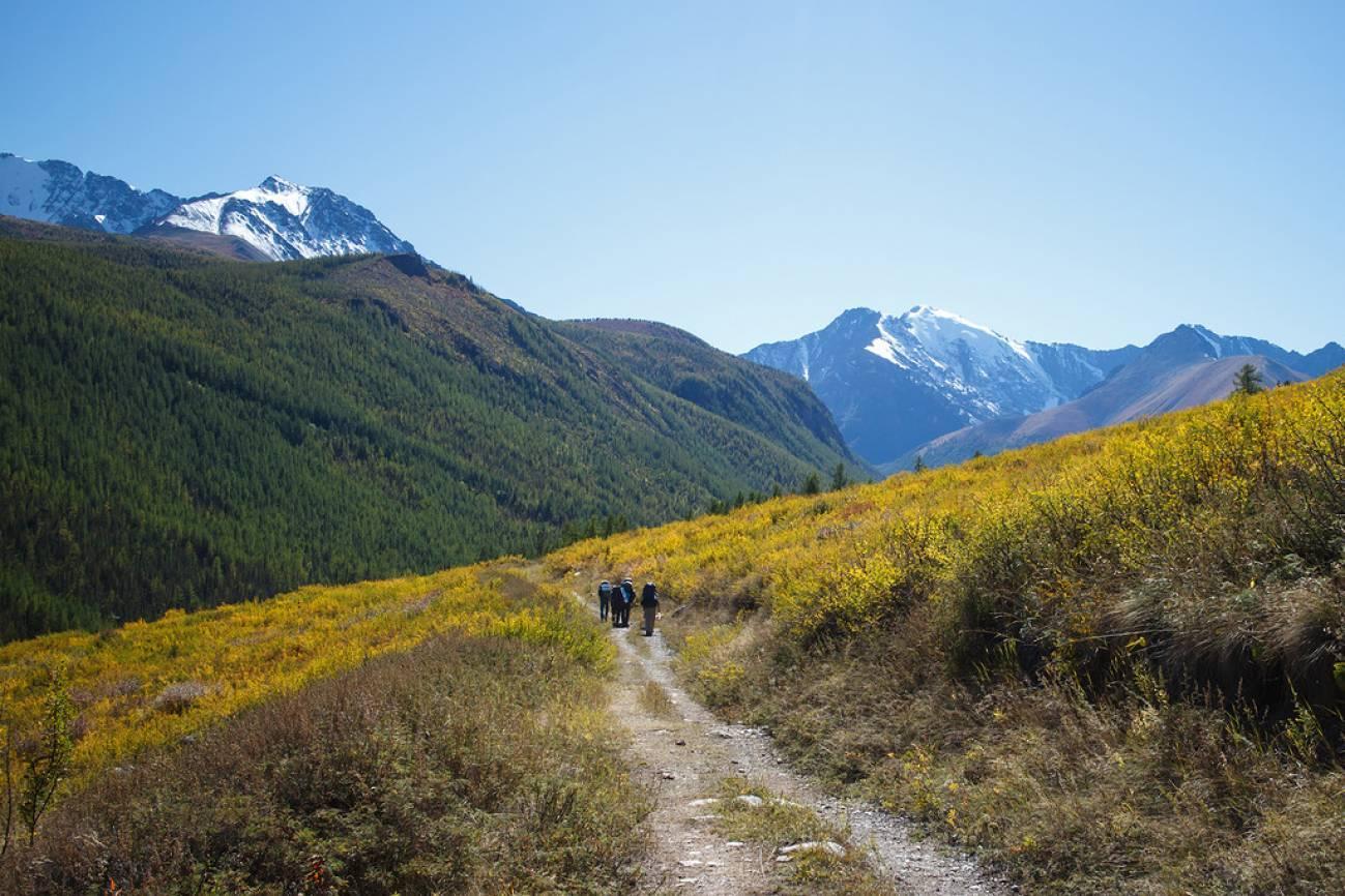Дорога в горах и путешественники