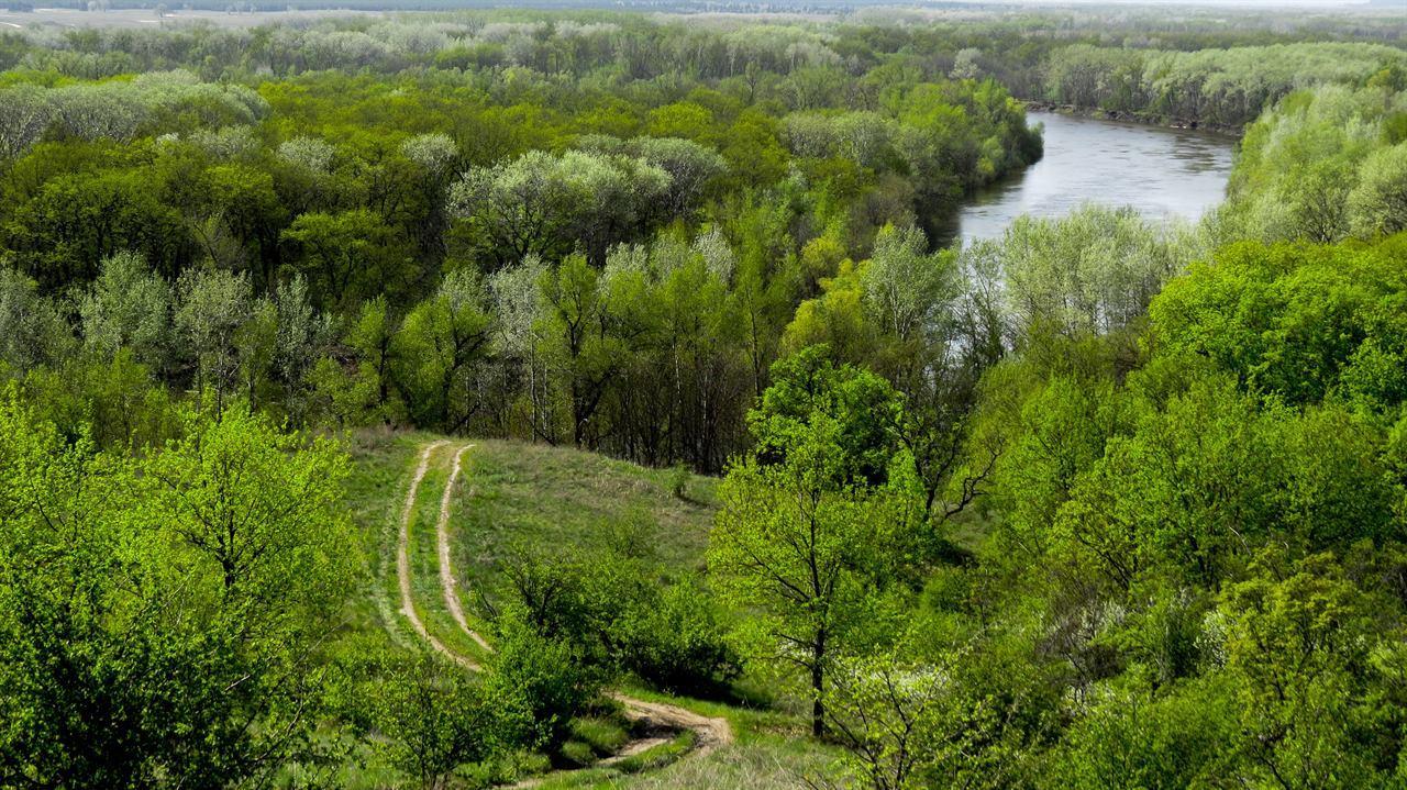 Дорога на холме к реке