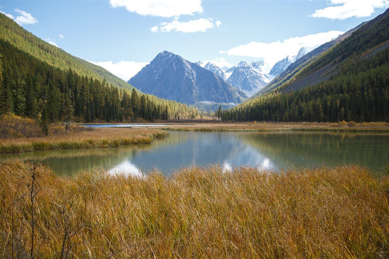Алтайское озеро на фоне величественных гор