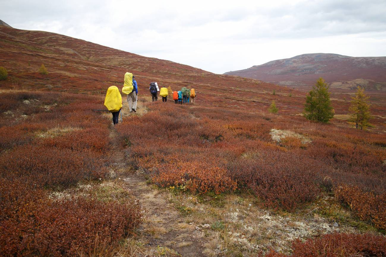 Туристы с большими рюкзаками идут по горной долине