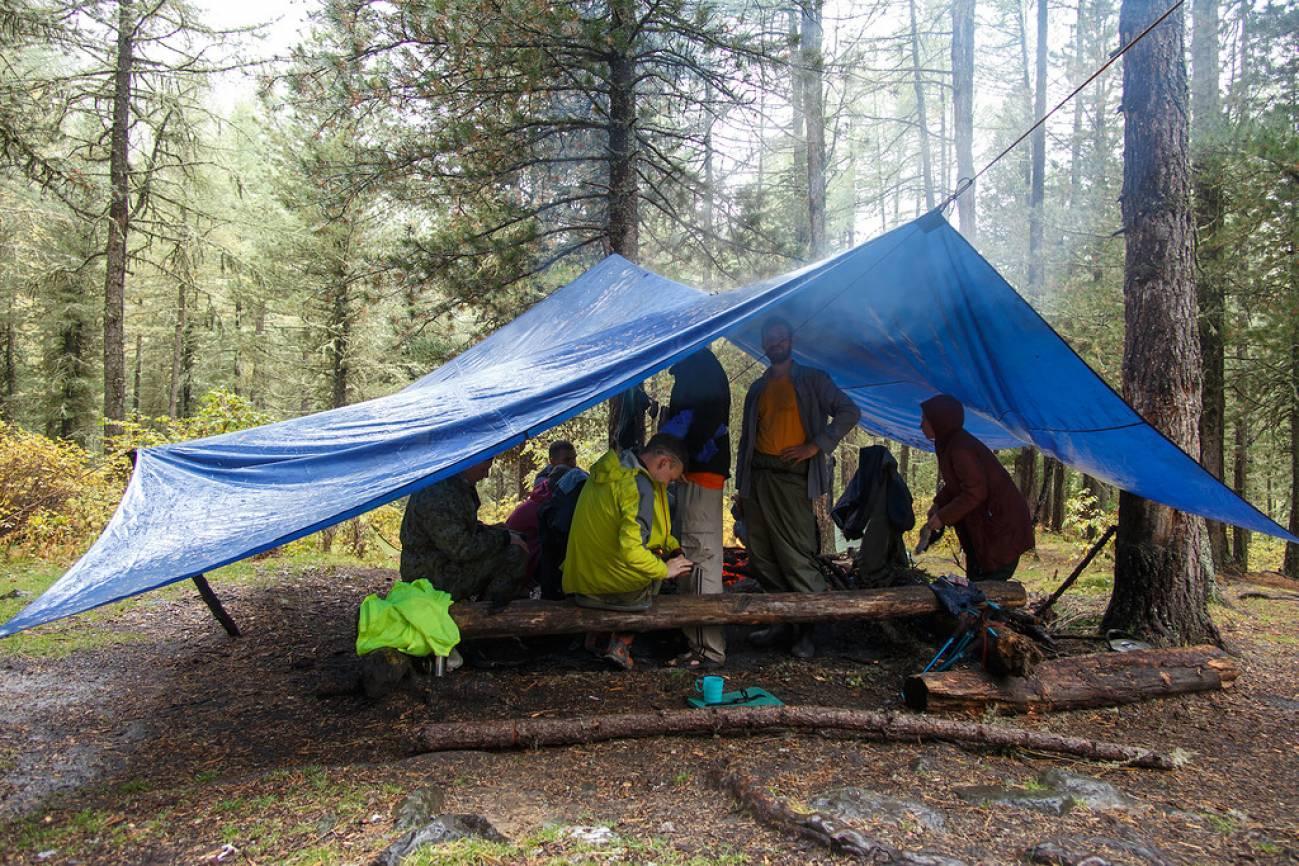 Туристы в лесу отдыхают в большой палатке-тенте