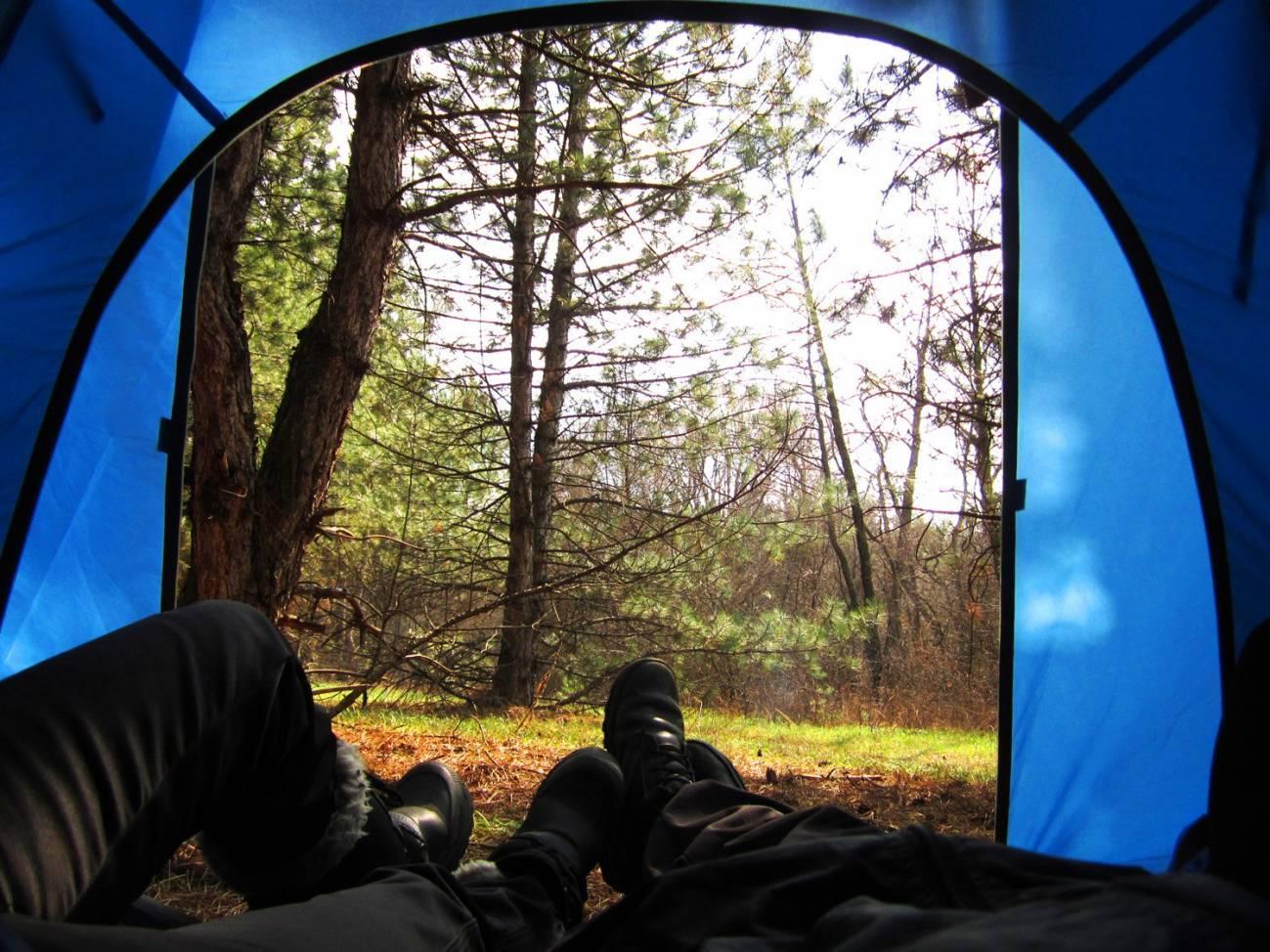 Отдых туристов в палатке в лесу