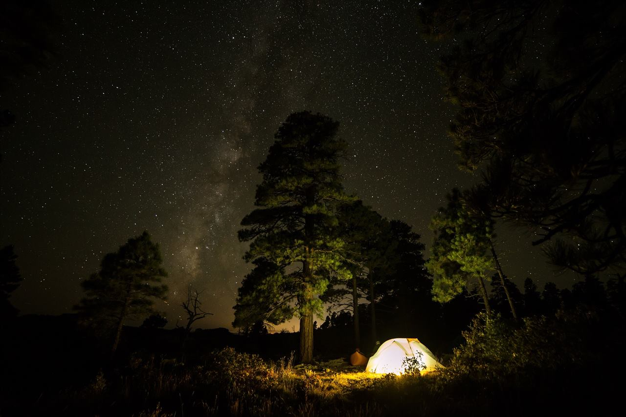 Палатка в походе ночью