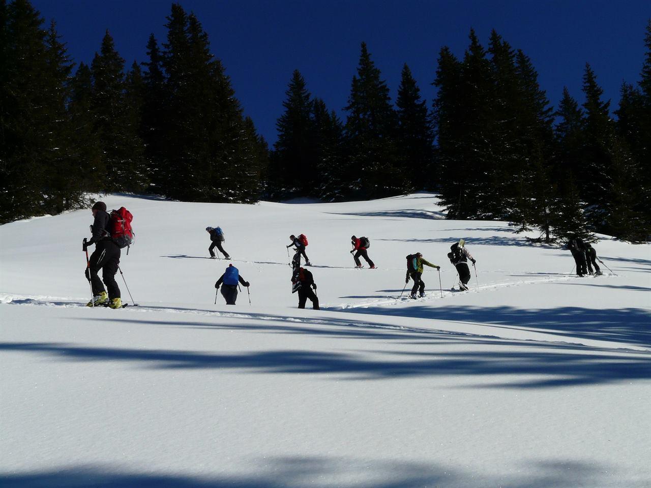 Клуб путешественников в зимнем лесу покоряет горы