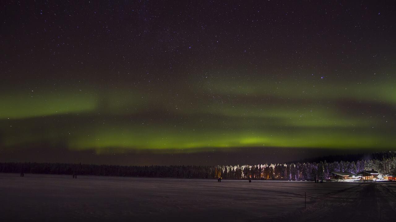 Ночь зимой в Финляндии в лесу