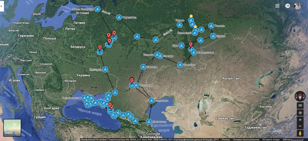 Велотур Урал-Крым маршрут
