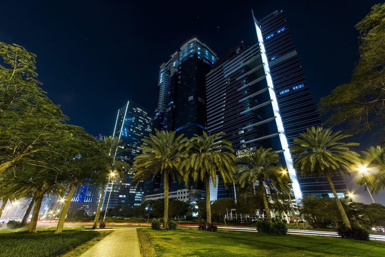 Ночной Дубай пальмы